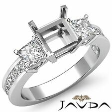 Natural Diamond Wedding Three 3 Stone Ring Platinum Princess Semi Mount 1.1Ct