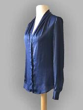 Blue Shirt. Size 18. Silky Navy Blouse. Long Sleeves. Draped Collar. Shawl neck.
