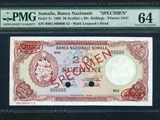 Somalia:P-7s,20 Scellini / Sh.,1966 * Banana * TDLR Specimen * PMG Ch. UNC 64 *