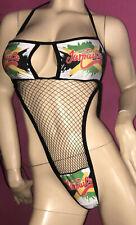 Exotic Dancer Bodysuit  black net with  Jamaica Print Color