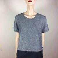 MADEWELL Damen Top XL 42 Blau Chambray Bluse Oberteil Shirt Trend Jeans Style