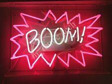 "New Boom! Neon Light Sign 14"" Lamp Beer Pub Acrylic Real Glass Handmade"