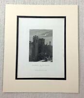 1872 Antico Incisione Caernarfon Castle Galles Vecchio Gallese Landscape Stampa