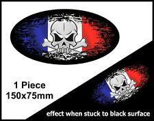 SKULL Oval FADE TO BLACK France French Country Flag vinyl car sticker 150mm