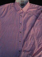 Michael Kors Mens Button Front Long Sleeve Designer Orange Stripe Shirt Large L