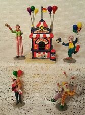 Lemax Village Carnival Ticket Booth 5pc #63563 Clowns Balloons