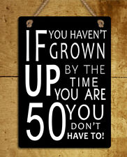 retro style metal hanging sign 50 birthday funny quote wall door plaque gift