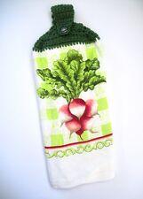 NEW COLORFUL Radish Kitchen Towel W Button & Crochet Top, Revere Mills. Green