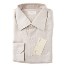 NWT $600 BRIONI Beige Herringbone Extrafine Linen Dress Shirt 17.5 x 35