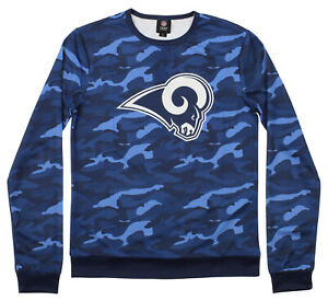 Forever Collectibles Men's Los Angeles Rams Camouflage Printed Crew Neck Sweater