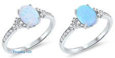 Sterling Silver 925 PRETTY LAB OPAL CLEAR CZ OVAL ENGAGEMENT RINGS SIZE 4-10