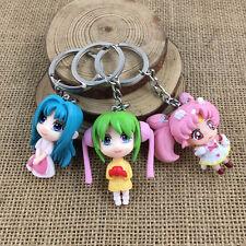 set of 3pcs Puella Magi Madoka Mag Pvc pendant key chain key ring figure cute