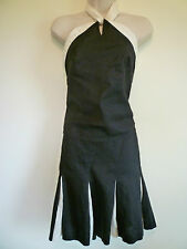 Ann Taylor Loft XS 2 black ivory 100% linen halter top skirt set skirt suit