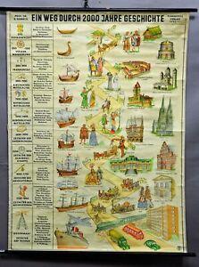 Wandkarte retro Rollbild vintage Poster Weg durch 2000 Jahre Weltgeschichte