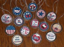 10 Primitive Americana July 4 Patriotic Hang Tags Gift Ties Mini Tree Ornaments