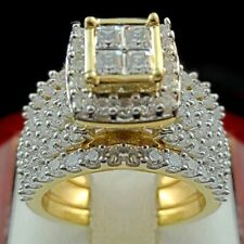 Fashion Women Men's 18K Yellow Gold Filled White Sapphire Ring Set  Jewelry 6-10