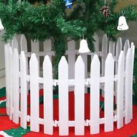 AS_ EG_ 5x White Plastic Picket Fence Miniature Garden Christmas Xmas Tree Decor