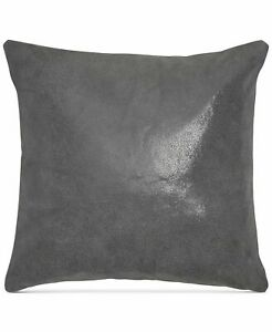 """Donna Karan Home Moonscape Reversible Leather 16"""" Decorative Pillow - Charcoal N"""