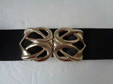 WOMEN'S WIDE BLACK ELASTIC STRETCH BELT WITH GOLD BUCKLE SIZE 30