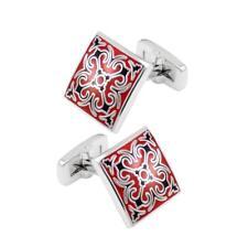 Enamel Square Pattern Cufflinks Cuff Links Brass Fashion 18x18mm Work