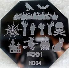 Nail Art Stamping Plates Image Plate Decoration Halloween Witch Spiders Bat HD04