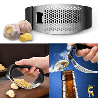 2 IN 1 Garlic Press Crusher Bottle Opener Stainless Steel Squeezer Kitchen Tool