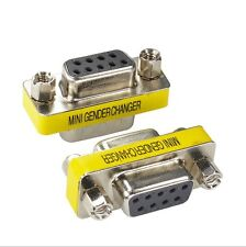 2X 9 Pin RS-232 DB9 Female to Female Serial Cable Gender Changer Coupler Adapter