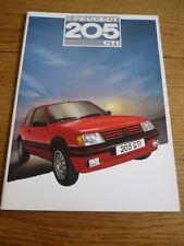 PEUGEOT 205 GTi  CAR SALES BROCHURE1987