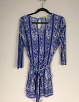41Hawthorn Blue and White Geometric Print 3/4 Sleeve Tie Waist Romper Women's M