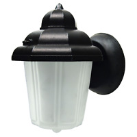 Outdoor Porch Light LED Bulb Black Metal Fixture w/ Frosted Glass Globe   458-03