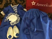 American girl doll /PC Felicity's Blue Christmas Dress, Shoes, Pinner hat +