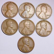 7 Different 1920's Lincoln Wheat Cent Penny LOWEST PRICE ON THE BAY! FREE SHIPIN