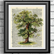 Dictionary art print on antique old book page Tree poster wall home decor garden