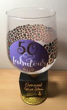 50 & Fabulous Oversized Wine Stem 30 Oz. Glass Fifty Birthday Gift Celebration