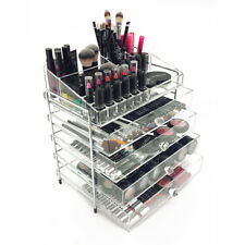 NEW! DELUXE MAKEUP ORGANIZER - STEEL/ACRYLIC 5 TIER DRAWER COSMETIC DISPLAY CASE