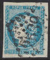 n°44B Bordeaux Cérès 20c bleu timbre classique Oblitéré GC 1er choix - Signé