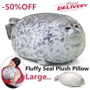 Large Chubby Blob Fluffy Seal Plush Cute Ocean Pillow Animal Stuffed Doll Toy IR