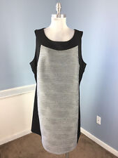 Calvin klein 22W Black Gray Wave Ponte Sheath dress Career Cocktail Stretch EUC