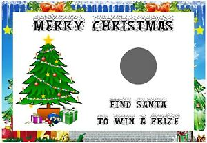 10 Christmas Scratch Cards - Size A6 - Christmas Party Game, Xmas Favours C1