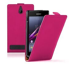 PINK Leather Flip Case Cover Pouch For Sony Xperia E1 D2004 / D2005 experia
