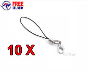 10 PCS Black Lanyard Cord Lobster Clasp Mobile Phone Accessories 7 Cm Length