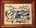 Blue Yarn Embroidered Tapestry Of Beautiful Town W/ Wood Framing