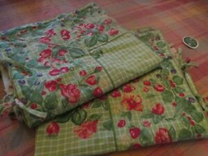 2 Red and Green Floral Strawberry April Cornell Pillow covers 24x24