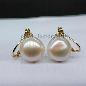 NEW AAA+ 12-13mm South Sea White Pearl Earrings 14K YELLOW GOLD baroque