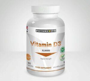 Vitamin D3 10000iu Highest Strength Futurevits 365 Tablets 10,000iu