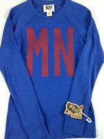 Minnesota State Shirt Todd Snyder Thermal Light Long Sleeve Womens USA Made Blue