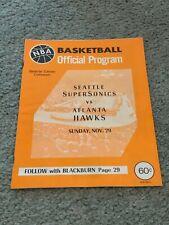 1970 Seattle Supersonics v Atlanta Hawks Basketball Program Maravich Rookie Year