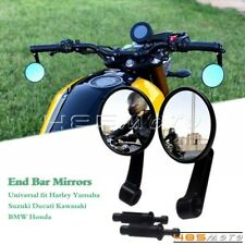 For Kawasaki BMW Honda Harley Cafe Racer Motorcycle Handle Bar End Mirrors Round