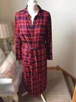 TU Red Navy Buffalo Check Plaid Long Shirt Dress Size 14 Long Sleeve Tartan