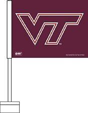 """VIRGINIA TECH HOKIES NCAA DOUBLE SIDED CAR FLAG  20"""" post  11""""x15"""" Flag USA Made"""